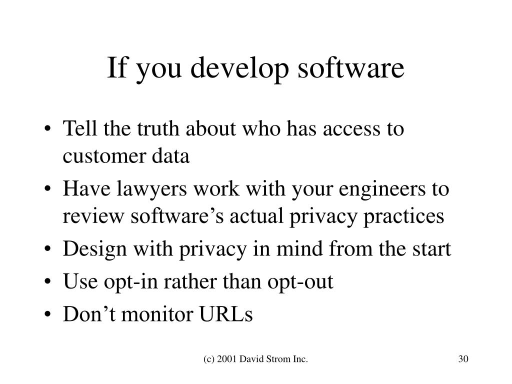 If you develop software