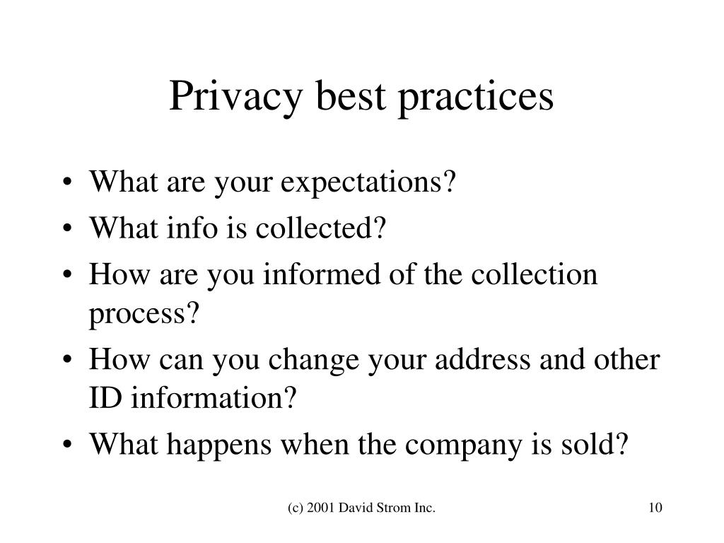 Privacy best practices