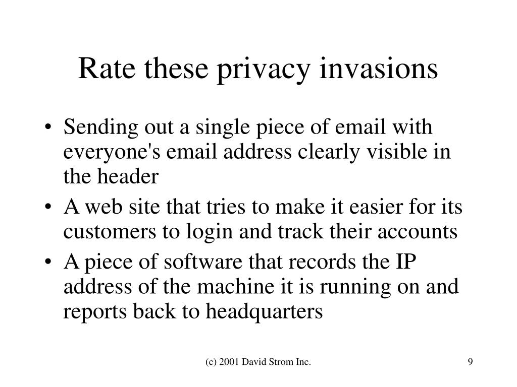 Rate these privacy invasions