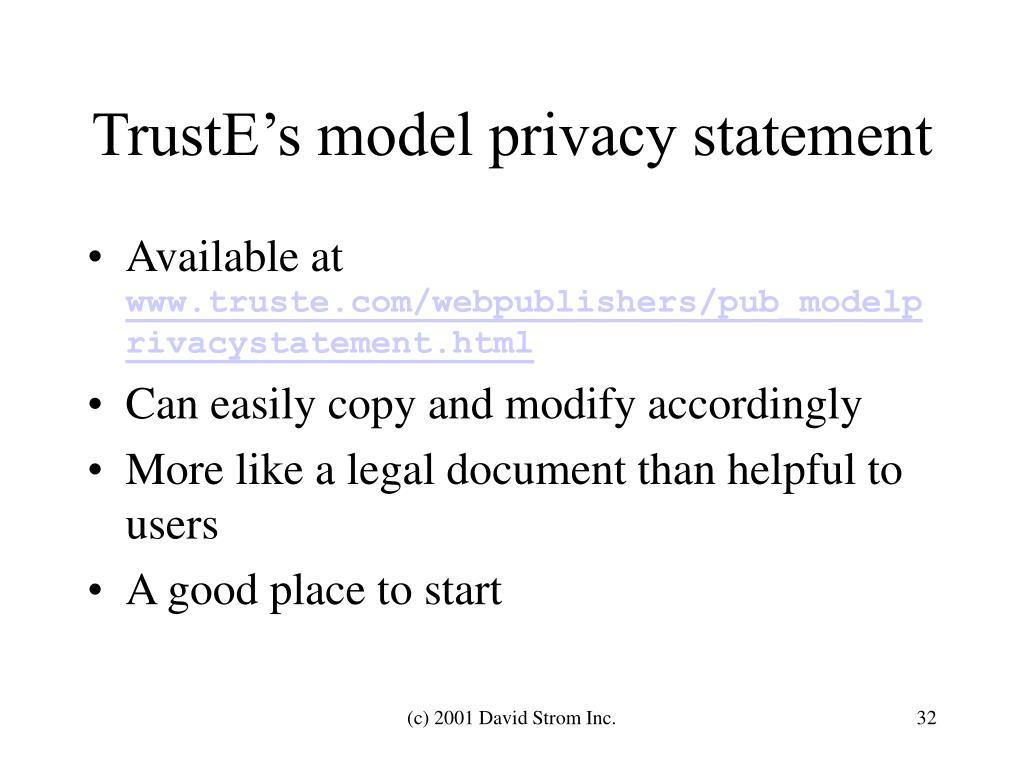 TrustE's model privacy statement