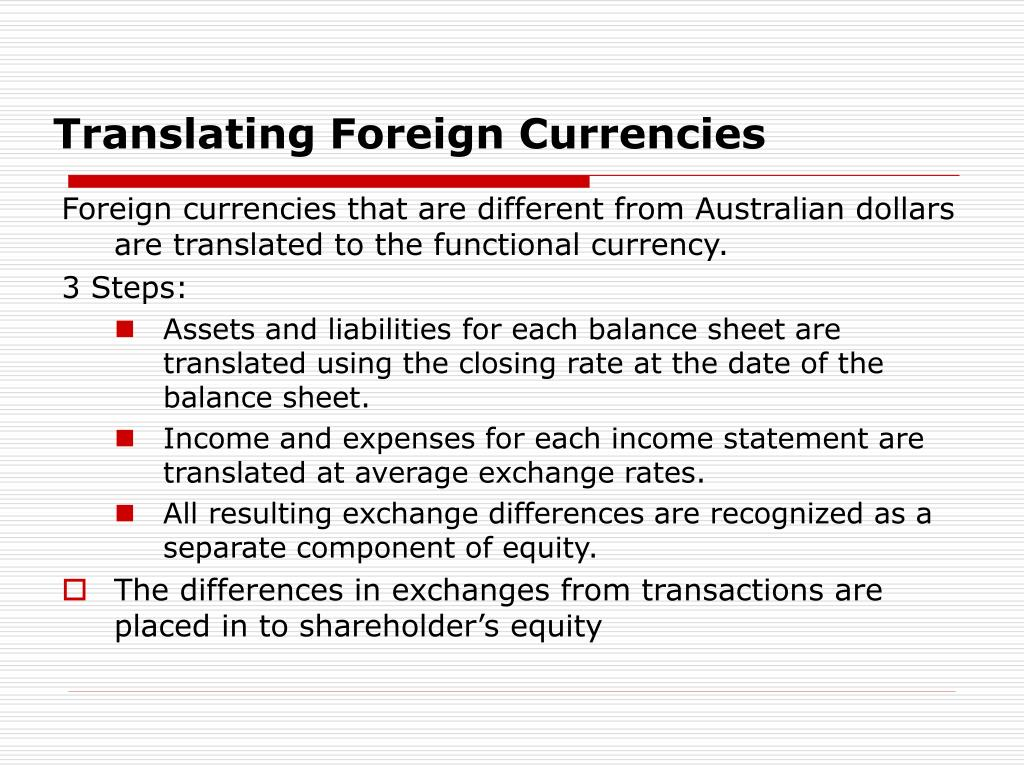 Translating Foreign Currencies