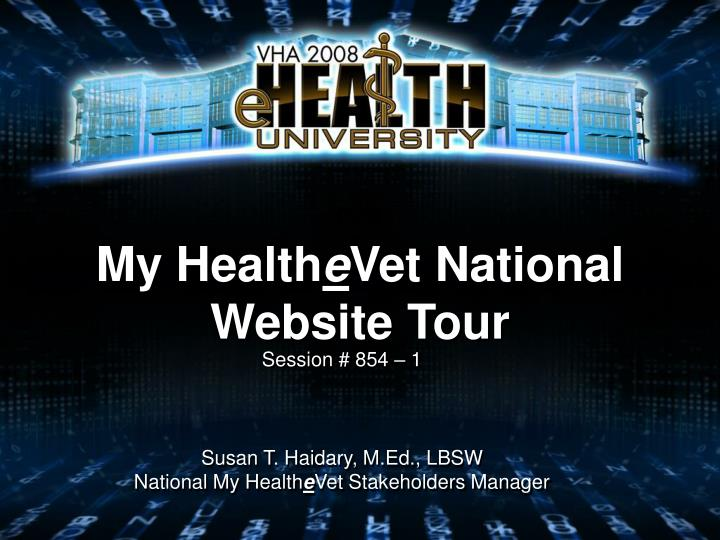 My health e vet national website tour