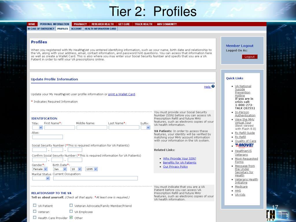 Tier 2:  Profiles