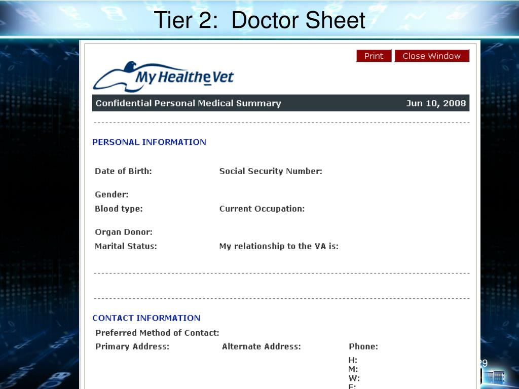 Tier 2:  Doctor Sheet