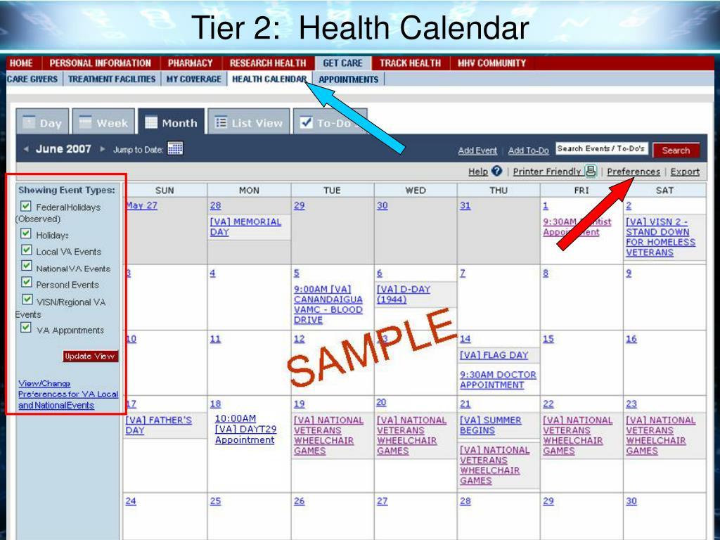 Tier 2:  Health Calendar