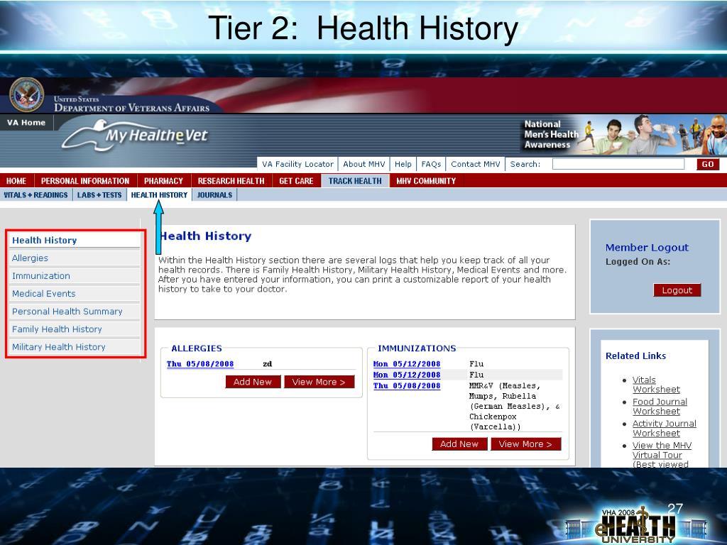 Tier 2:  Health History