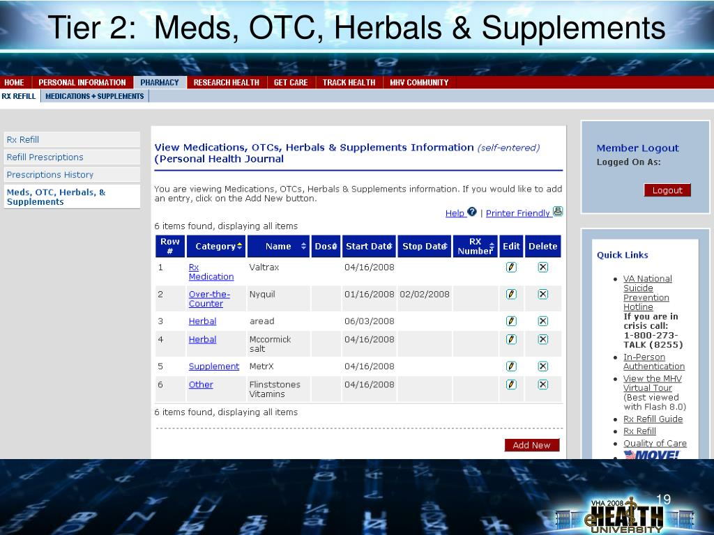 Tier 2:  Meds, OTC, Herbals & Supplements
