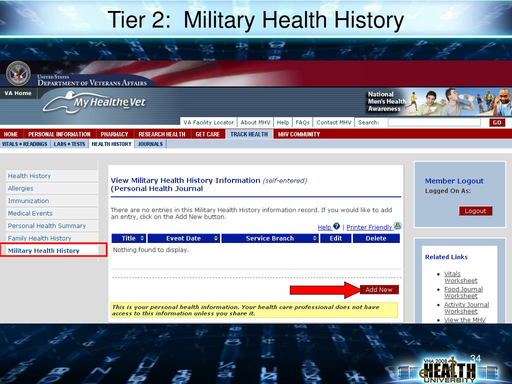 Tier 2:  Military Health History