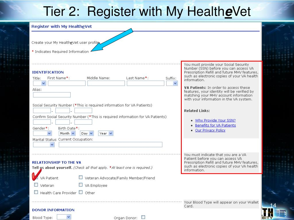 Tier 2:  Register with My Health