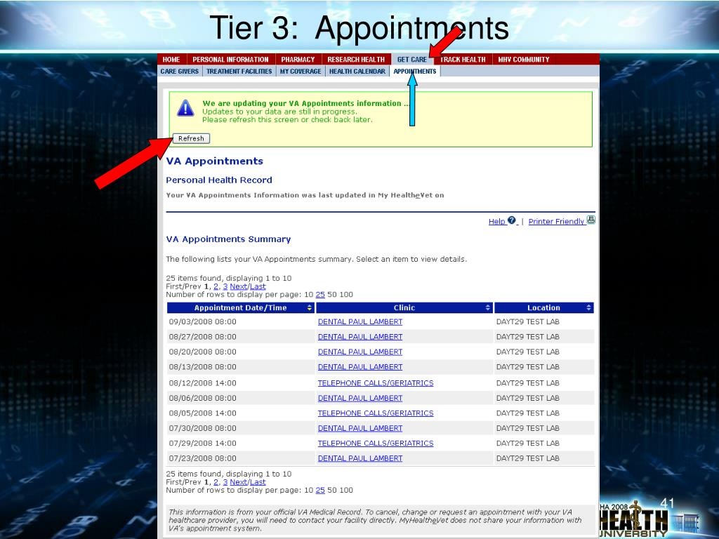 Tier 3:  Appointments