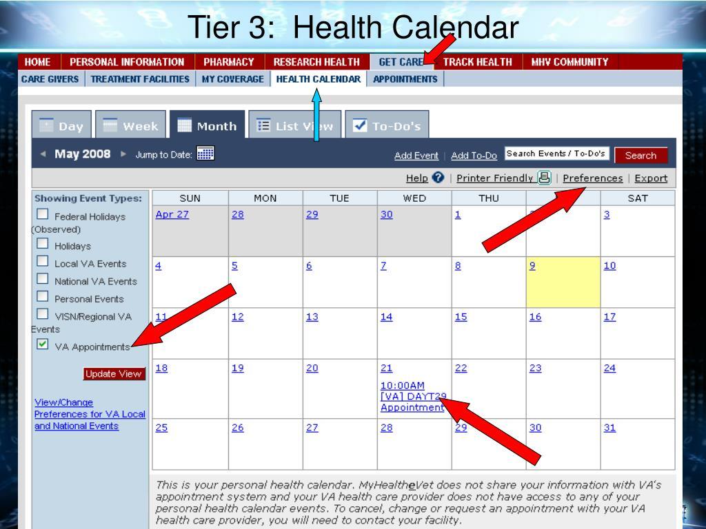 Tier 3:  Health Calendar