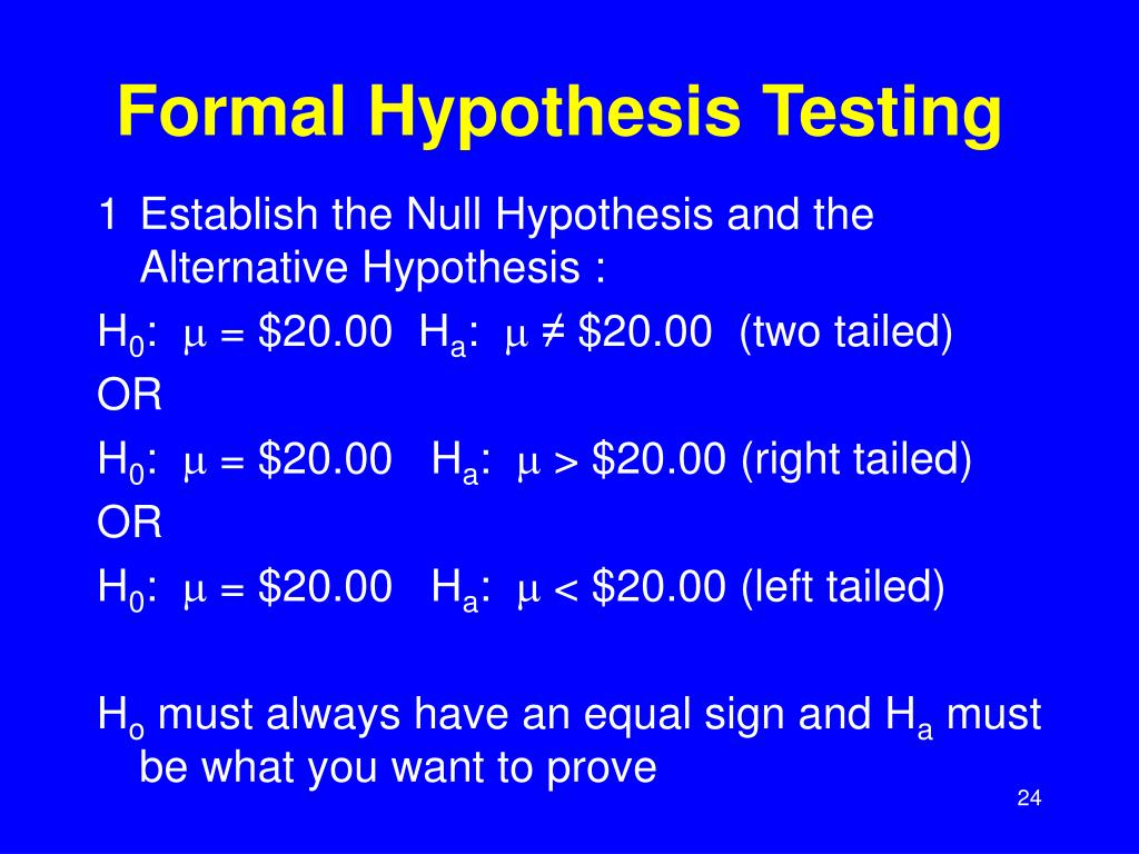 Formal Hypothesis Testing
