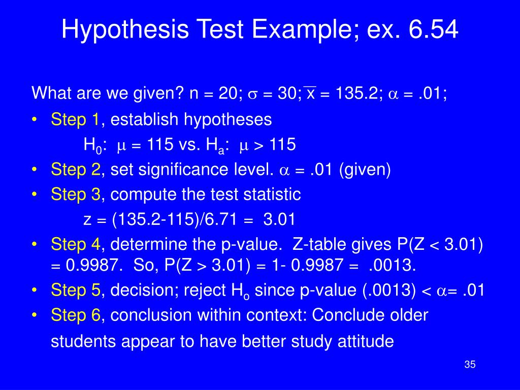 Hypothesis Test Example; ex. 6.54