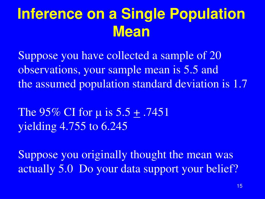 Inference on a Single Population Mean
