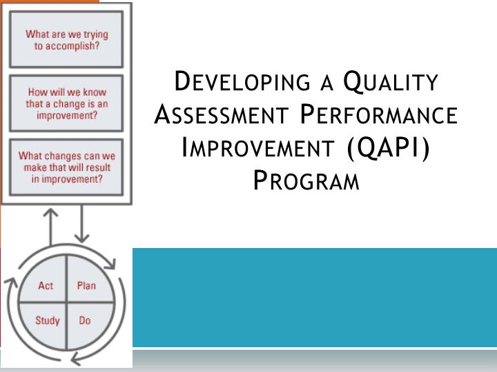 Developing a Quality Assessment Performance Improvement (QAPI) Program