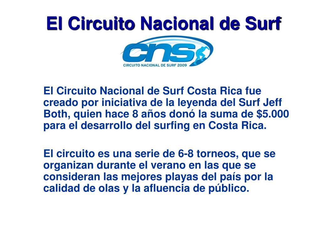 El Circuito Nacional de Surf Costa Rica fue creado por iniciativa de la leyenda del Surf Jeff Both, quien hace 8 años donó la suma de $5.000 para el desarrollo del surfing en Costa Rica.