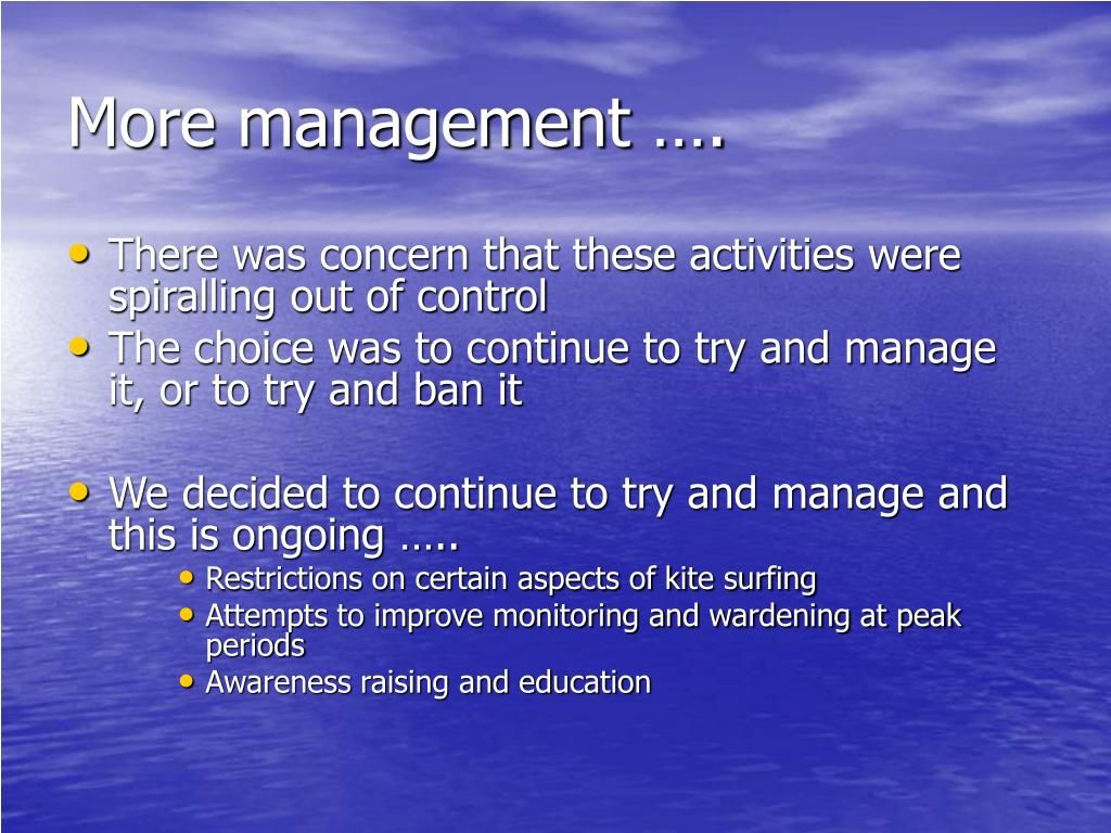 More management ….