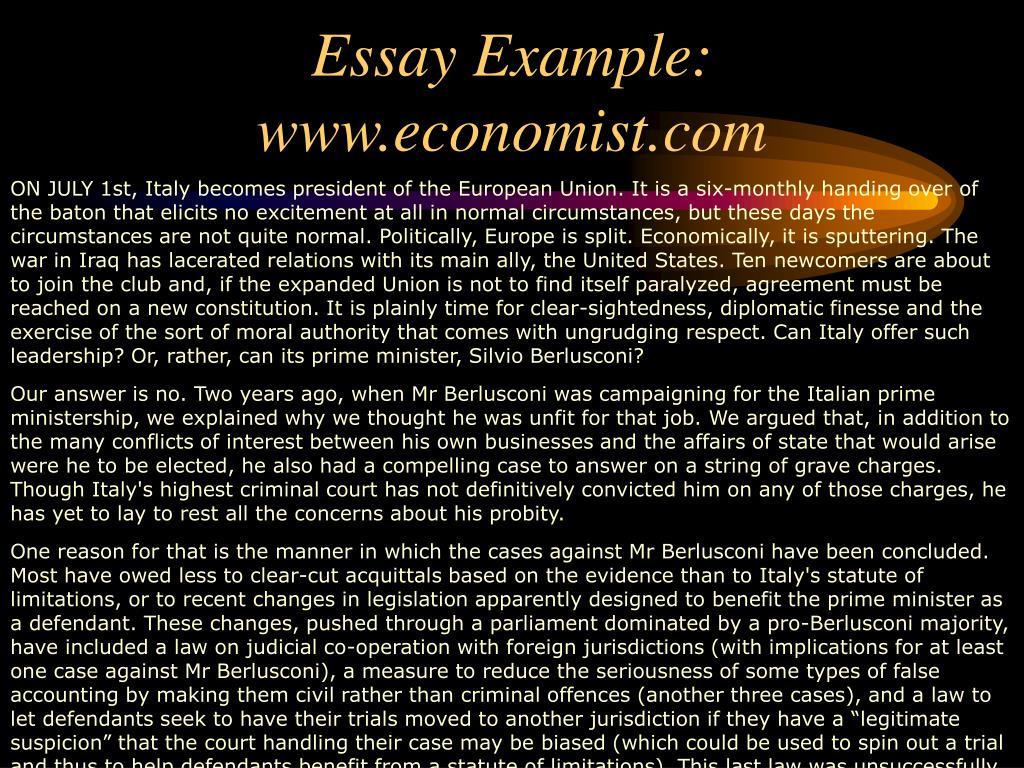 Essay Example:  www.economist.com