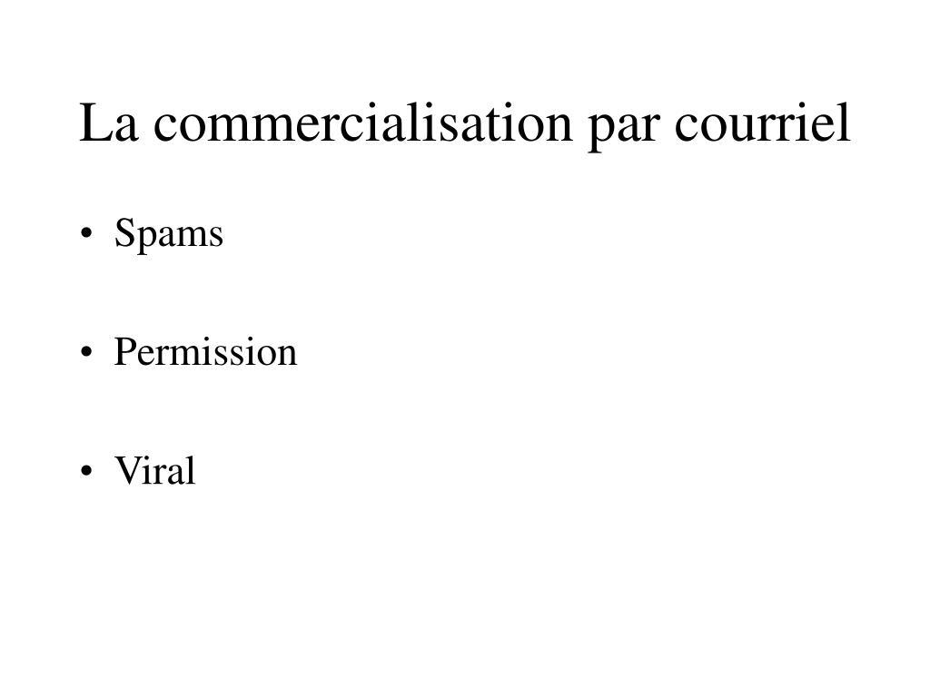 La commercialisation par courriel