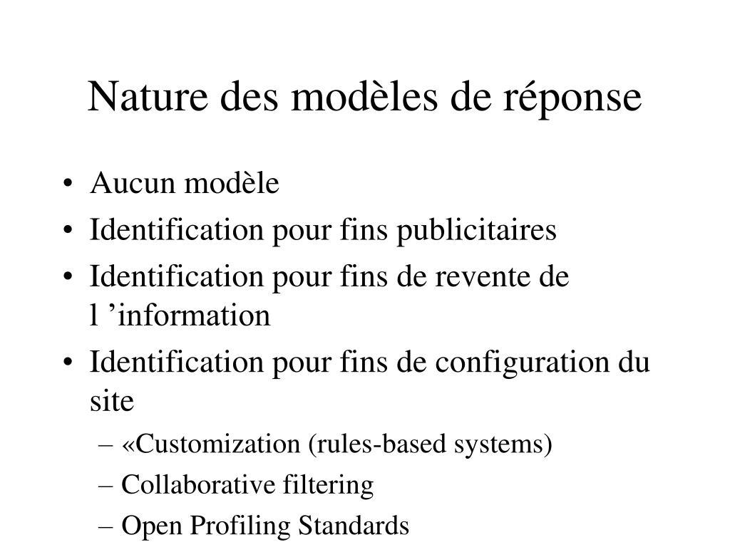 Nature des modèles de réponse