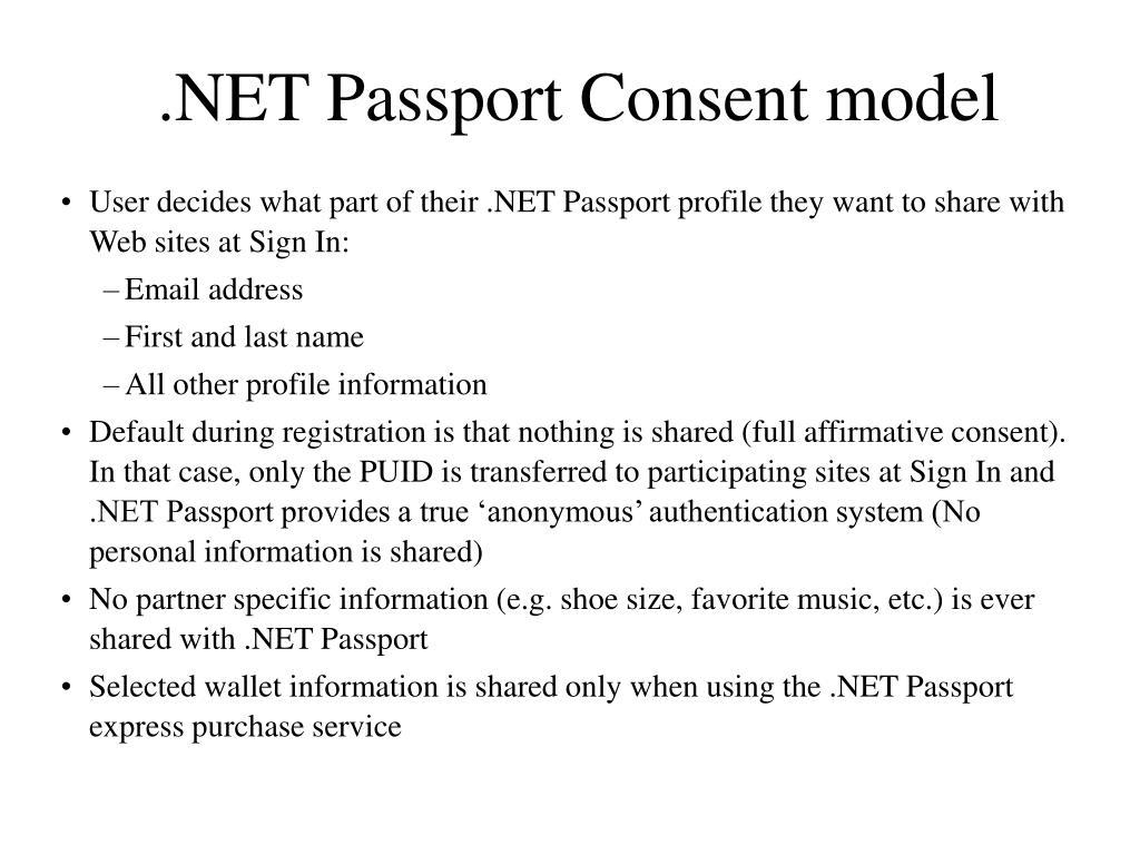 .NET Passport Consent model