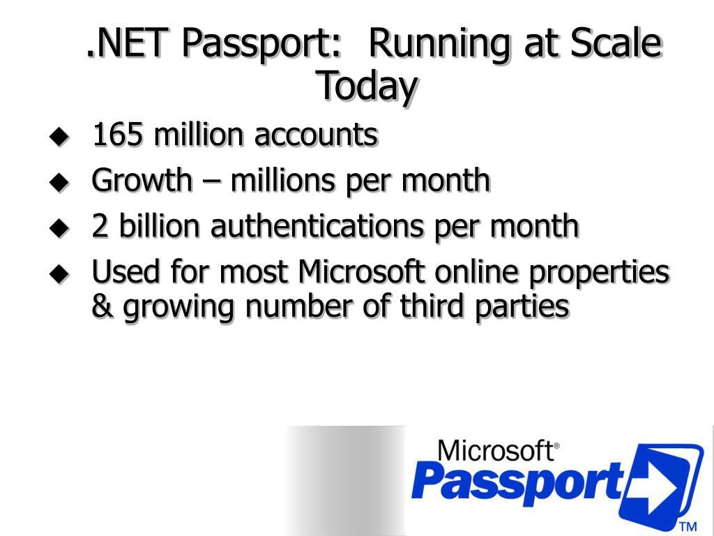 .NET Passport:  Running at Scale Today
