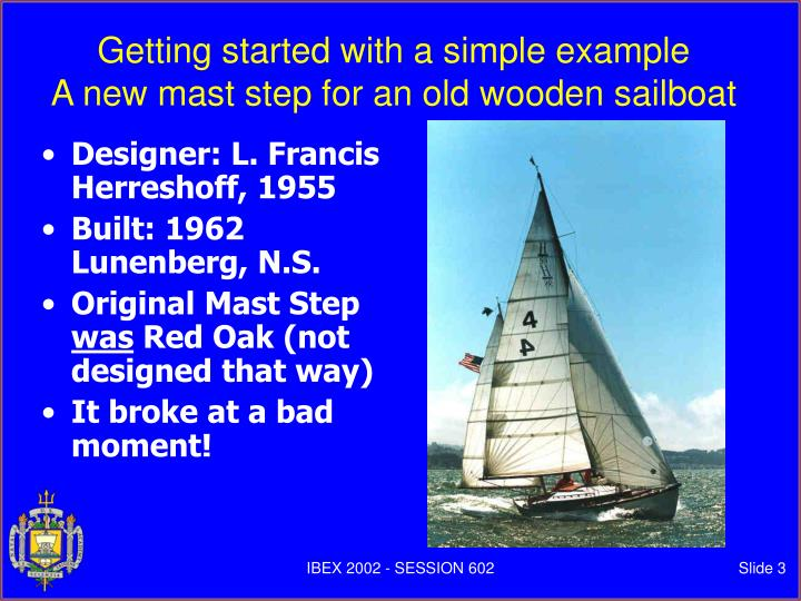 Getting started with a simple example a new mast step for an old wooden sailboat