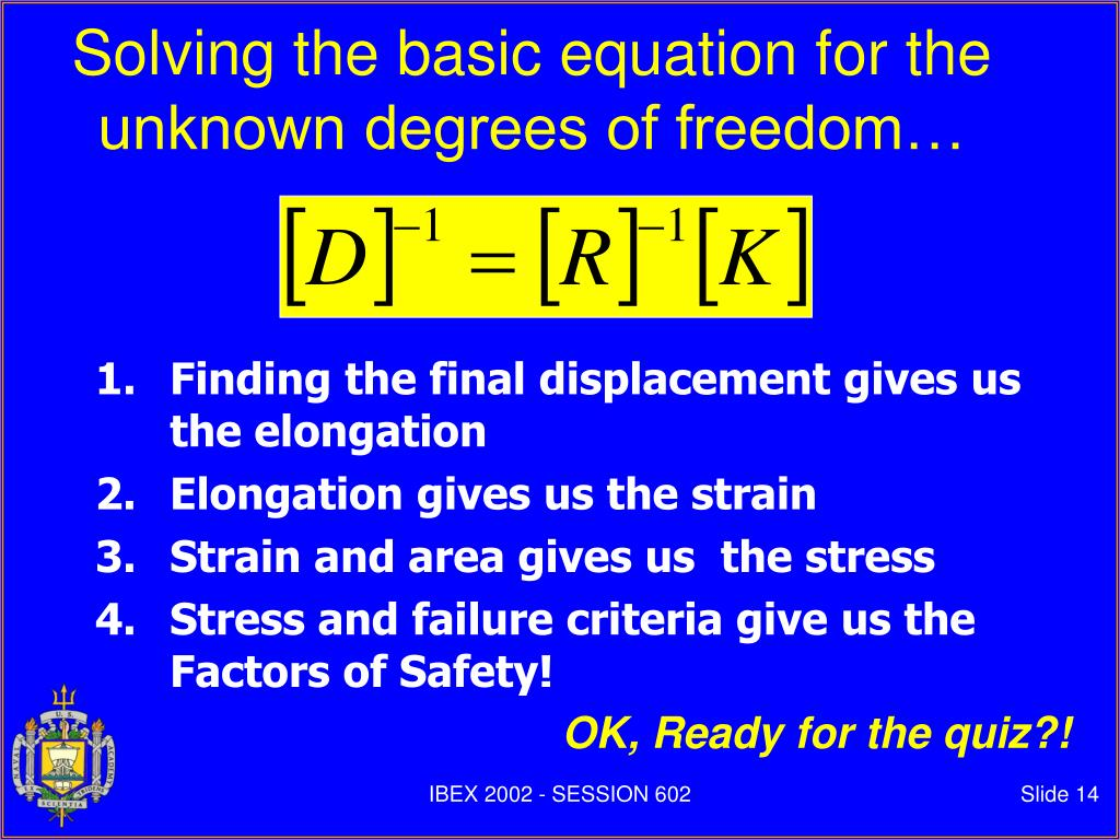 Solving the basic equation for the unknown degrees of freedom…