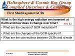 heliosphere cosmic ray group compiled questions campaigns14