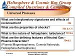 heliosphere cosmic ray group compiled questions campaigns15