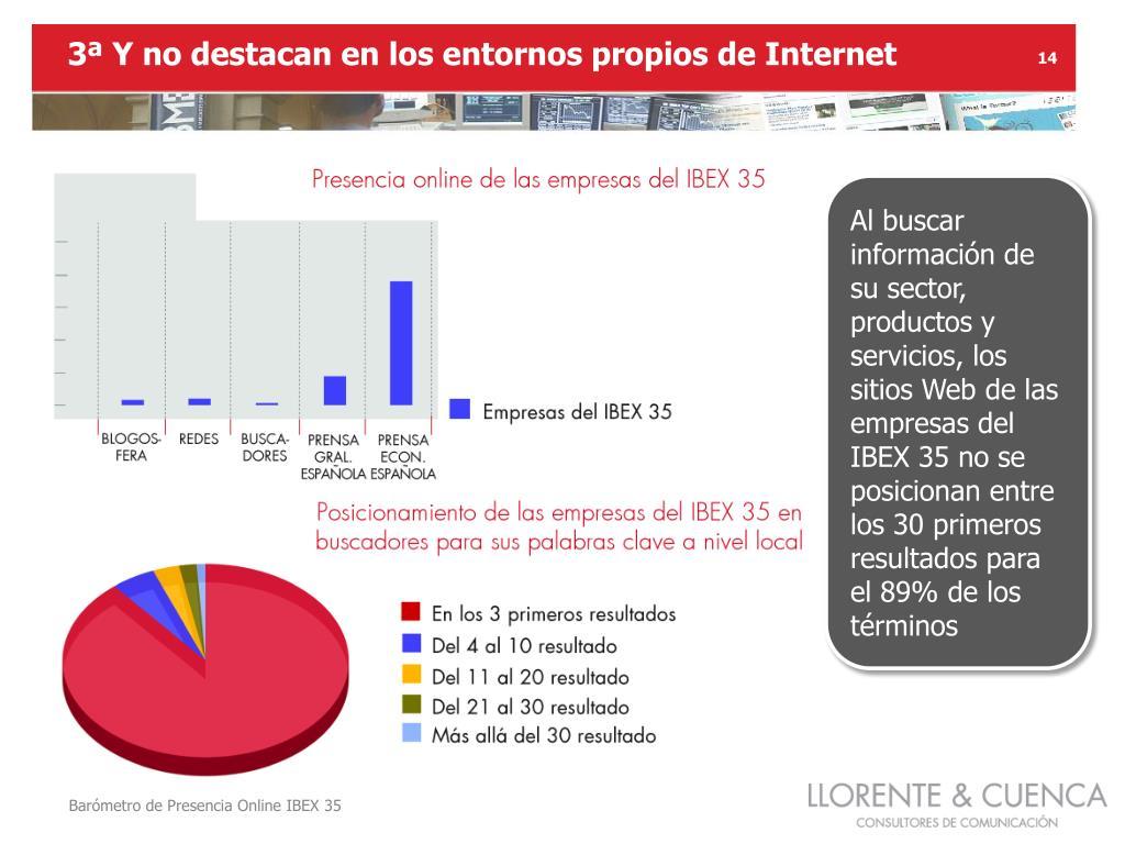 3ª Y no destacan en los entornos propios de Internet