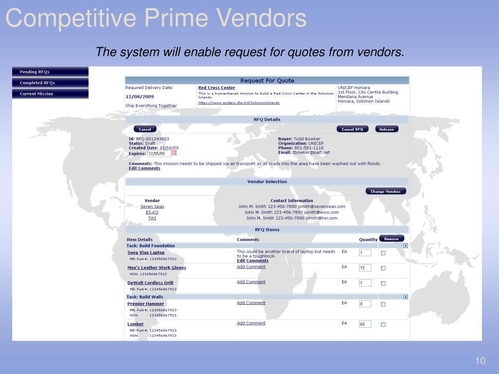 Competitive Prime Vendors