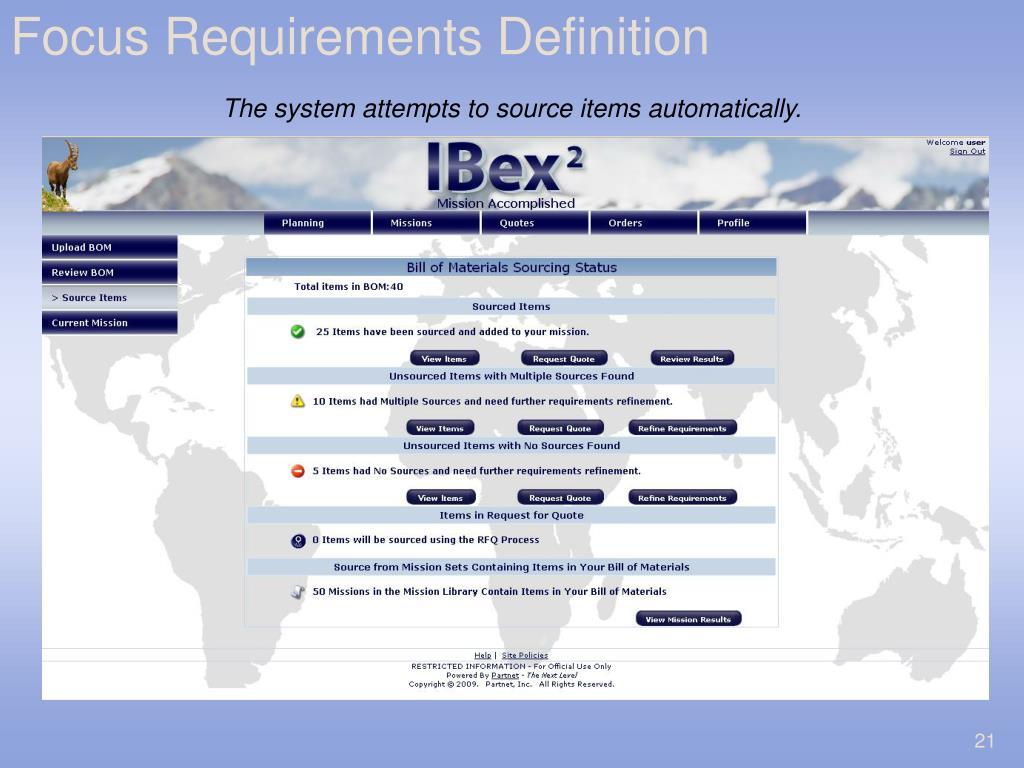 Focus Requirements Definition