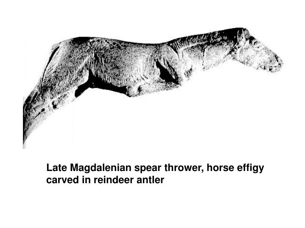 Late Magdalenian spear thrower, horse effigy carved in reindeer antler