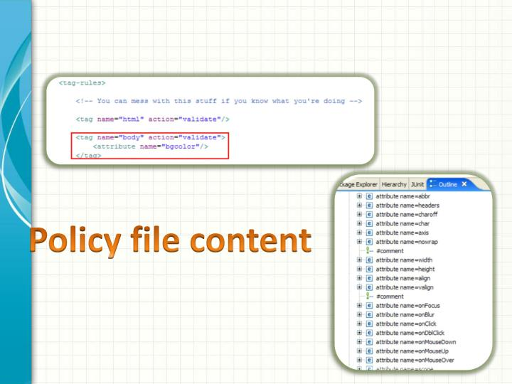 Policy file content