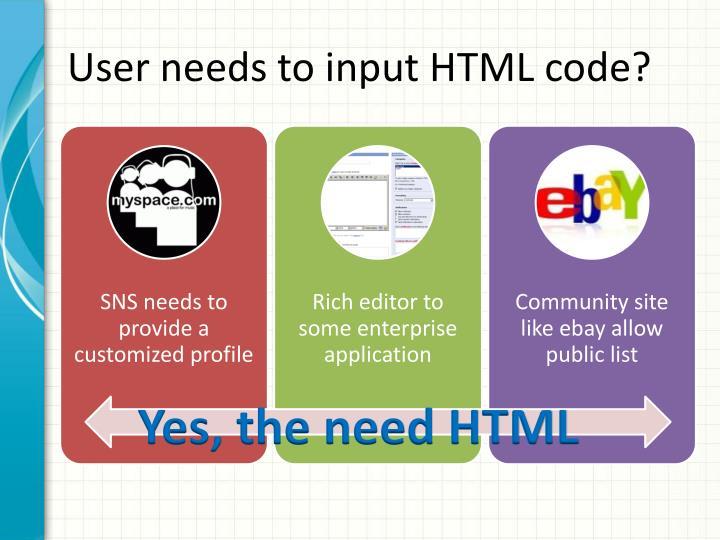 User needs to input HTML code?