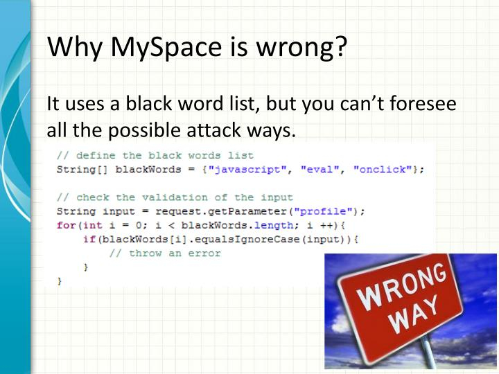 Why MySpace is wrong?