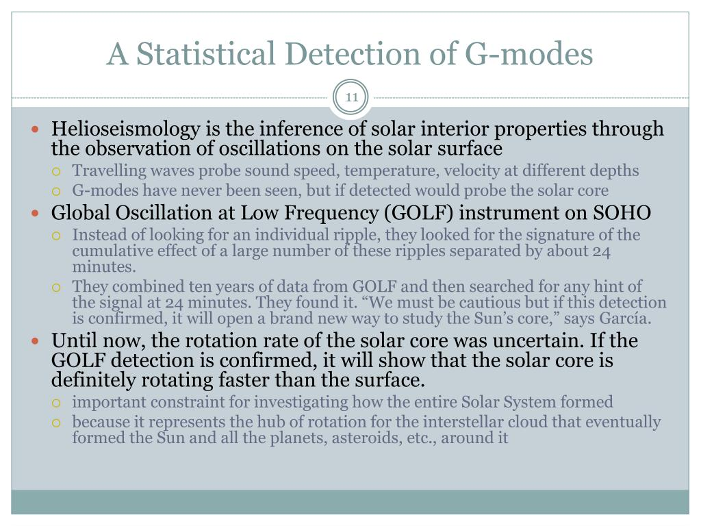 A Statistical Detection of G-modes