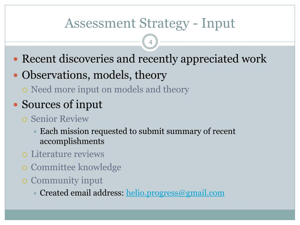 Assessment Strategy - Input