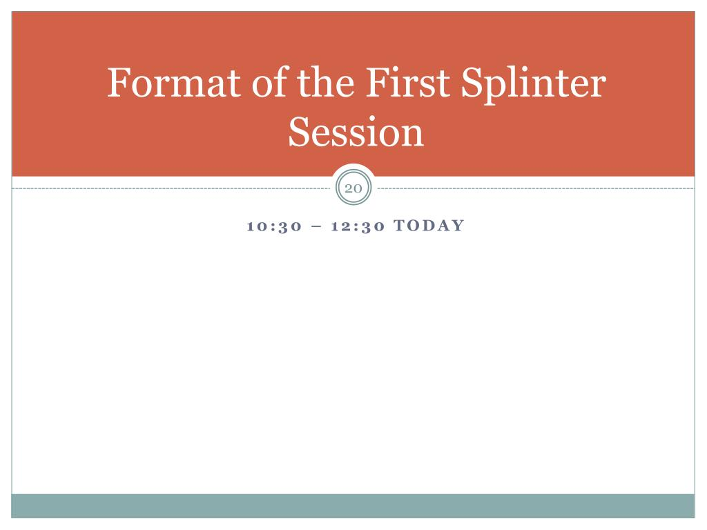 Format of the First Splinter Session
