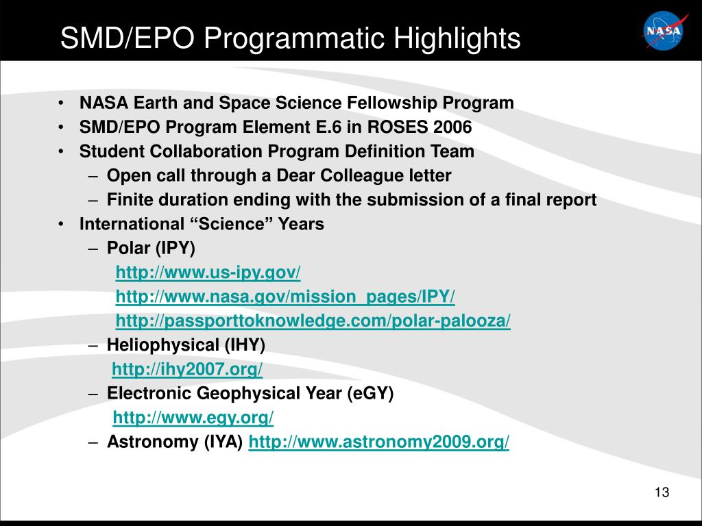 SMD/EPO Programmatic Highlights
