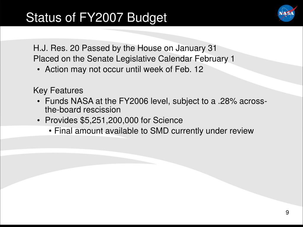 Status of FY2007 Budget