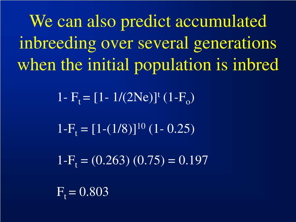We can also predict accumulated inbreeding over several generations when the initial population is inbred