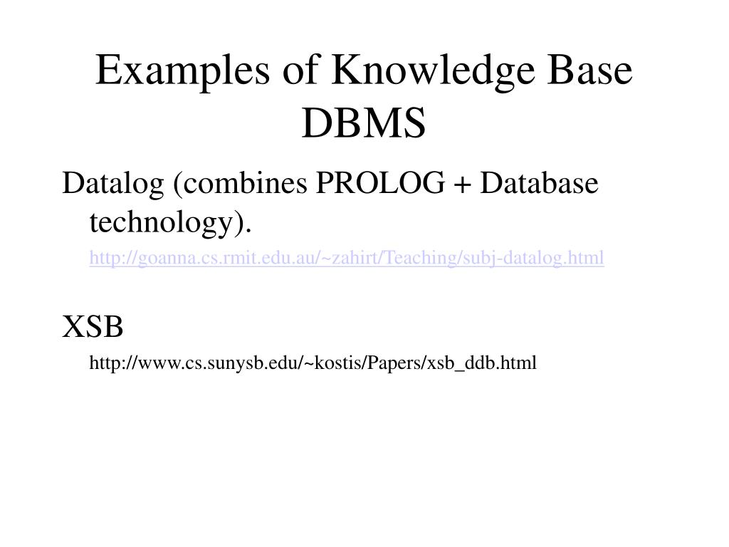 Examples of Knowledge Base