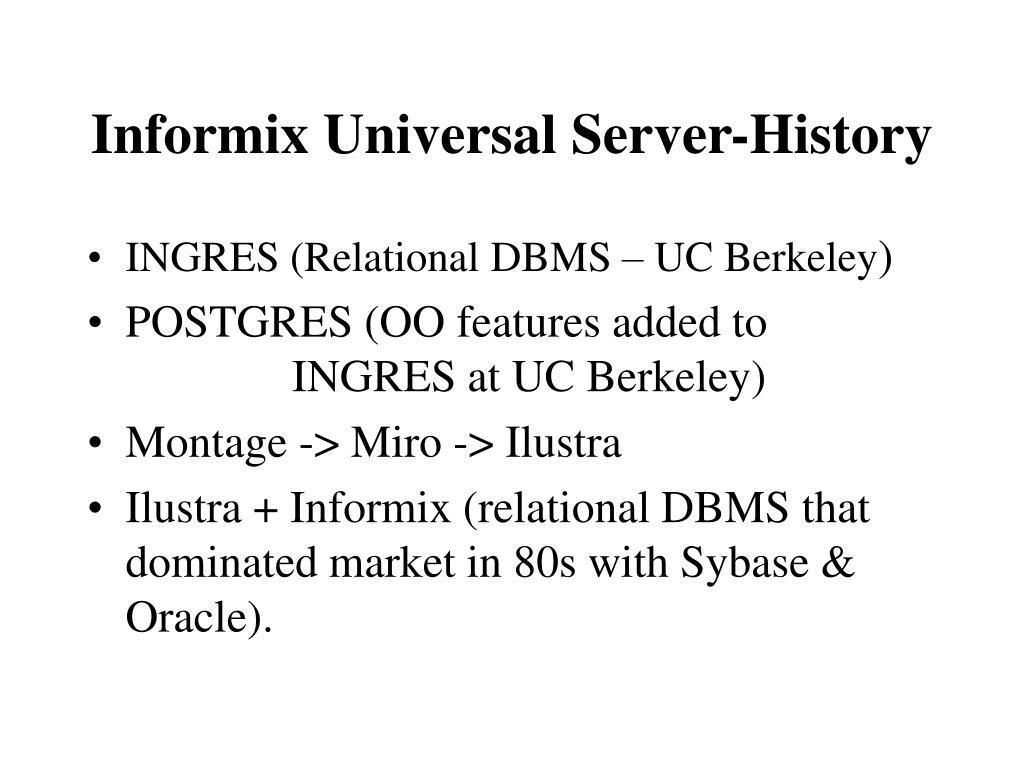 Informix Universal Server-History