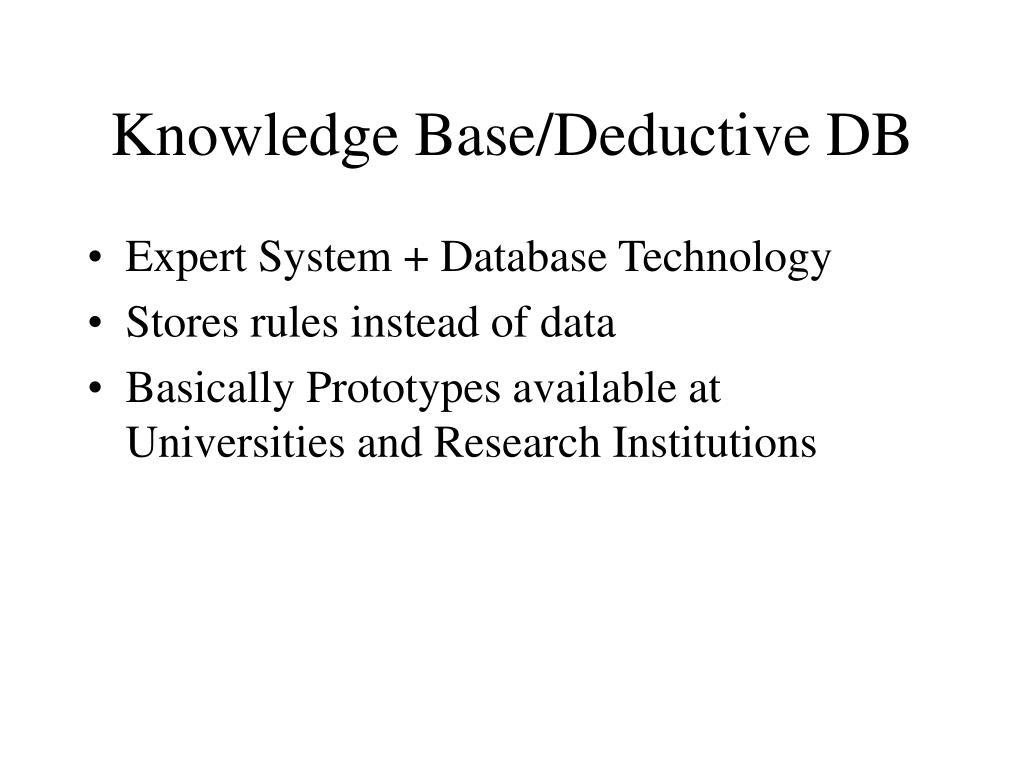 Knowledge Base/Deductive DB