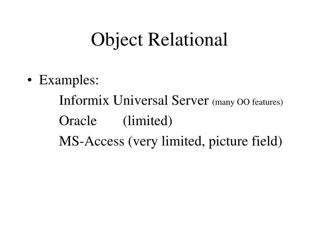 Object Relational
