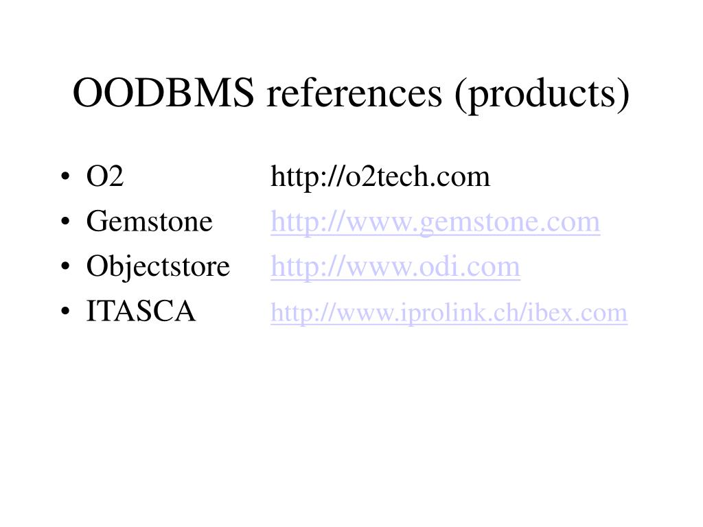 OODBMS references (products)