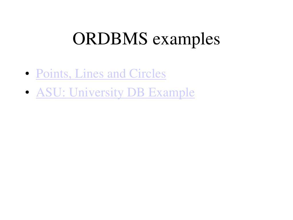 ORDBMS examples