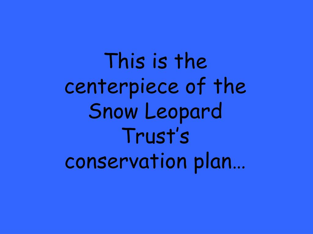 This is the centerpiece of the Snow Leopard Trust's conservation plan…